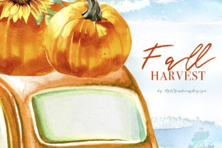 Watercolor Fall Harvest Design Set Graphic Illustrations By artcreationsdesign 4