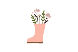 Print on Demand: Flower  in Rubber Rain Boot Garden Shoes Graphic Illustrations By Musbila