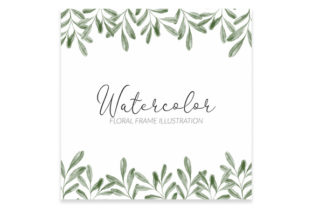 Print on Demand: Watercolor Green Leaf Square Frame Graphic Illustrations By elsabenaa