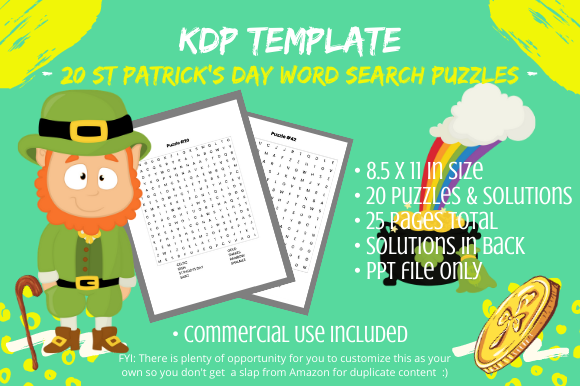 Print on Demand: 20 St Patrick Day Word Search Puzzles Graphic KDP Interiors By Tomboy Designs