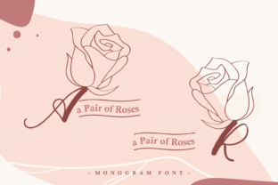 Print on Demand: A Pair of Roses Decorative Font By nryntdw