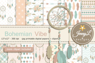 Bohemian Tribal Digital Paper & Clipart Graphic Backgrounds By jennyL_designs
