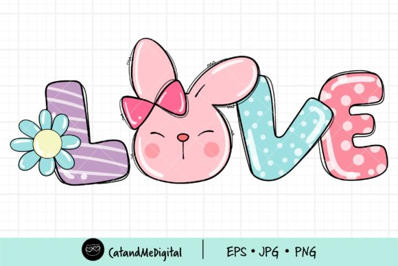 Bunny Love Spring PNG Clipart. Graphic Illustrations By CatAndMe