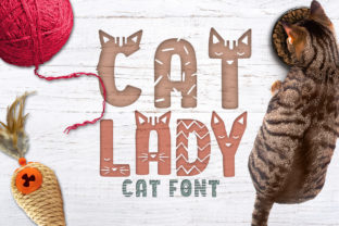 Print on Demand: Cat Lady Decorative Font By arausidp