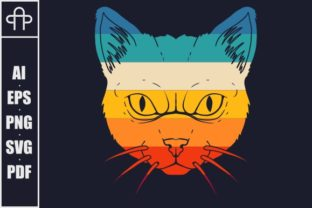 Print on Demand: Cat Retro Colorful Illustration Graphic Illustrations By Andypp