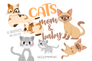 Print on Demand: Cats Mom & Baby Clipart Graphic Illustrations By DigitalPapers