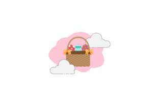 Easter Basket Yellow Ribbon Cloud Icon Graphic Icons By raysaozora