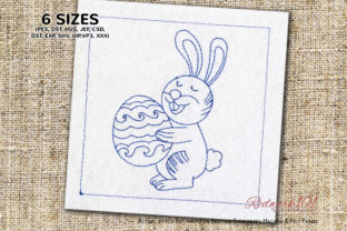 Easter Bunny with Egg Redwork Easter Embroidery Design By Redwork101