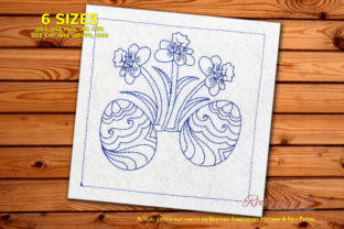 Egg and Flowers Lineart Easter Embroidery Design By Redwork101