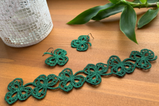 FSL Shamrock Earrings & Bracelet St Patrick's Day Embroidery Design By EmbDesigns