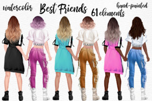 Print on Demand: Girls Clipart Best Friend Clipart Graphic Illustrations By LeCoqDesign