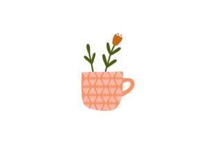 Print on Demand: Happy Valentine Day with Flowers in Mug Graphic 3D Pillow Box By Musbila