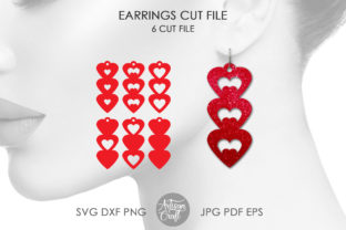 Print on Demand: Heart Earrings SVG DXF Graphic 3D SVG By Artisan Craft SVG
