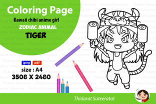 Kawaii Anime Girl - Coloring Page - No.3 Graphic Coloring Pages & Books Kids By thidarat.suteeratat