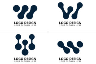 Print on Demand: Letter W Technology Logo Design Bundle Graphic Logos By rowshonarabegum1975.bd