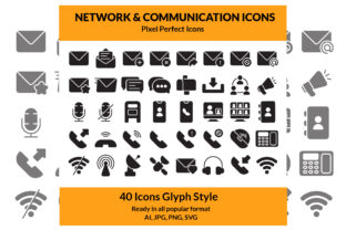 Network & Communication Icon Set Glyph Graphic Icons By DudeDesignStudio