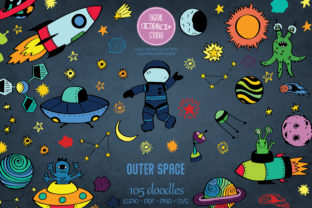 Outer Space Color | Planet, Astronaut Graphic Illustrations By Digital_Draw_Studio