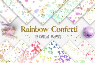 Rainbow Confetti Glitter Background Graphic Backgrounds By PinkPearly