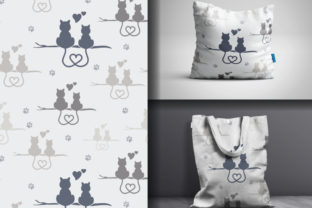 Seamless Silhouette Cat in Love Pattern Graphic Patterns By lindoet23