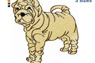 Shar Pei Dog Dogs Embroidery Design By EmbDesigns