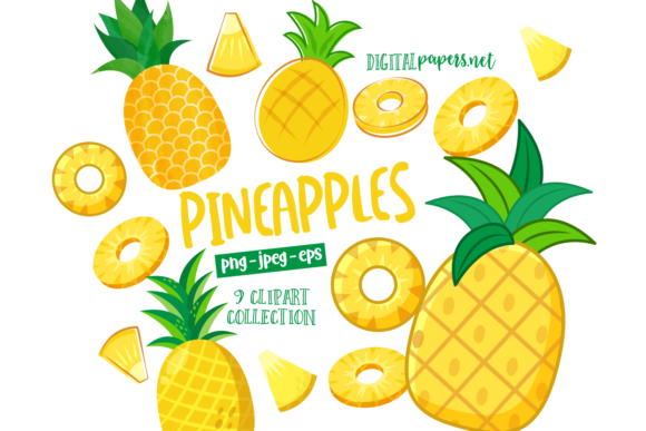 Print on Demand: Sweet Pineapple Clipart Set Graphic Illustrations By DigitalPapers