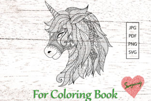 Unicorn for Coloring Book Graphic Coloring Pages & Books Adults By somjaicindy