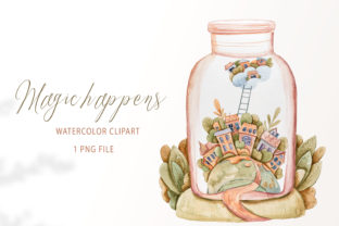 Print on Demand: Watercolor Fairy Garden House Clipart Graphic Illustrations By Tiana Geo