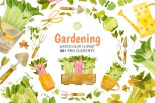 Print on Demand: Watercolor Garden Tools, Herbs Clipart Graphic Illustrations By ValinMalin