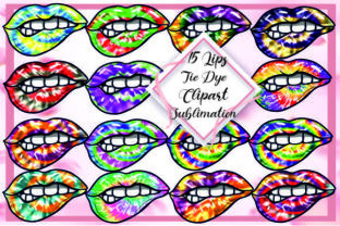 Print on Demand: 15 Tie Dye Lips Clipart Sublimation Png Graphic Print Templates By DenizDesign
