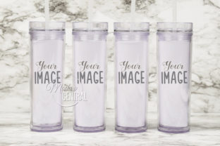 4 Clear Matching Cup Mockup Tumblers JPG Graphic Product Mockups By Mockup Central
