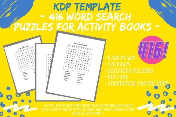 Print on Demand: 416 Word Search Puzzles 4 Activity Books Graphic KDP Interiors By Tomboy Designs