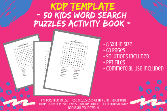 Print on Demand: 50 Kids Mixed Topic Word Search Puzzles Graphic KDP Interiors By Tomboy Designs