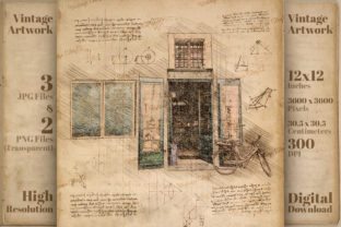 Print on Demand: Apothecary Shop Da Vinci Drawing Style Graphic Illustrations By Vintage 12by12
