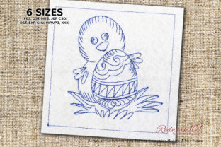 Baby Chicken with Egg Easter Redwork Easter Embroidery Design By Redwork101