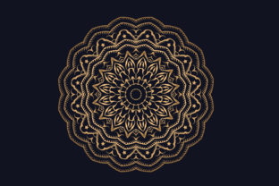 Print on Demand: Beautiful Golden Color Mandala Design Graphic Crafts By grgroup03