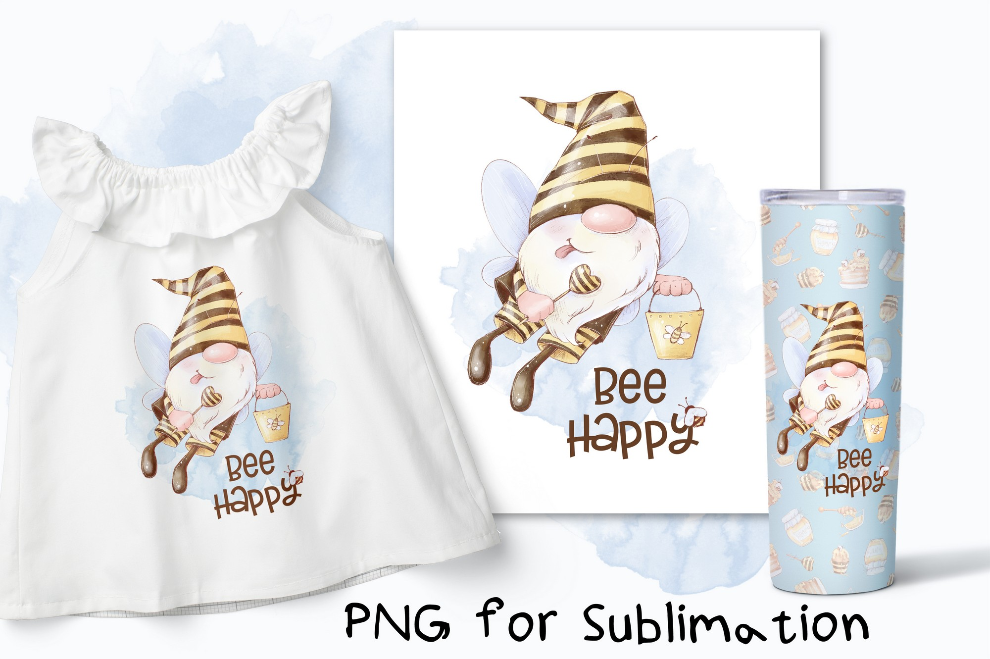 Bee Happy Gnome Sublimation. Printing SVG File