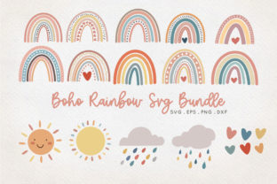 Boho Rainbow Bundle Graphic Crafts By peachycottoncandy
