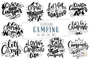Print on Demand: Camping Lettering Quotes Bundle Graphic Crafts By dapiyupi