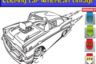 Print on Demand: Coloring Car American Vintage Graphic Coloring Pages & Books Adults By kdp Edition