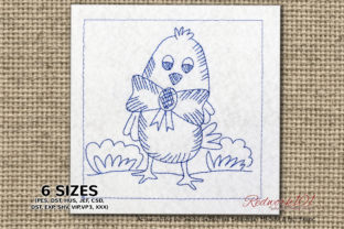 Easter Chick with Bow Redwork Easter Embroidery Design By Redwork101