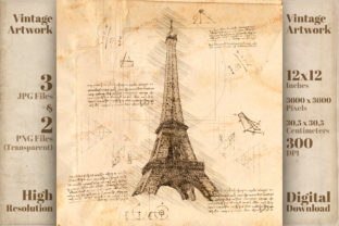 Print on Demand: Eiffel Tower Paris France Da Vinci Style Graphic Illustrations By Vintage 12by12