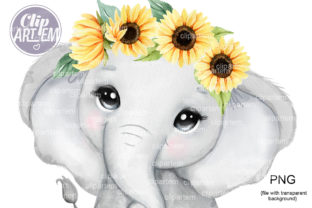 Print on Demand: Elephant Girl with Sunflower Watercolor Graphic Illustrations By clipArtem