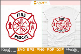 Print on Demand: Fire Rescue Vector Logo Firefighter Svg Graphic Print Templates By Sarofydesign