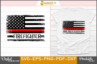 Print on Demand: Firefighter Design Red Line USA Flag Svg Graphic Print Templates By Sarofydesign
