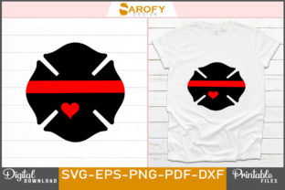 Print on Demand: Firefighter Emblem Design with Red Line Graphic Print Templates By Sarofydesign