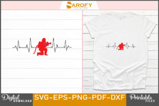 Print on Demand: Firefighter Heart Beat Silhouette Design Graphic Print Templates By Sarofydesign
