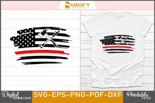 Print on Demand: Firefighter Red Line with USA Flag Svg Graphic Print Templates By Sarofydesign