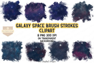 Print on Demand: Galaxy Space Brush Strokes Clipart Set Graphic Illustrations By SineDigitalDesign