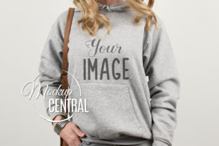 Girl Model in Gray Hoodie Mockup Graphic Product Mockups By Mockup Central