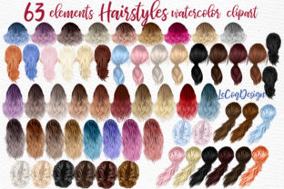 Print on Demand: Hairstyles Clipart Ombre Hairstyles Grafik Illustrationen von LeCoqDesign